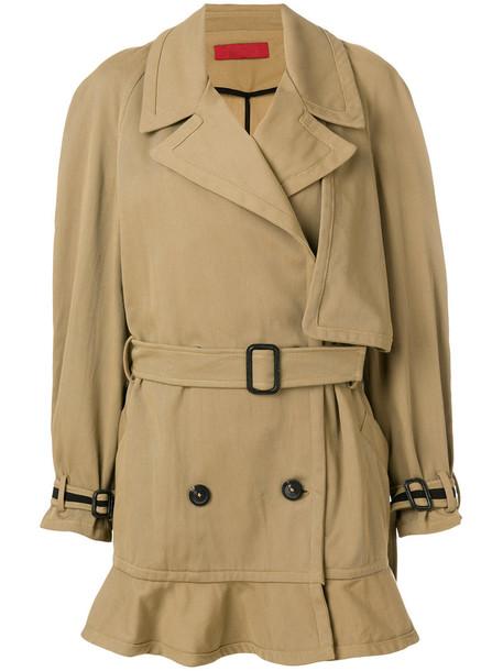 Di Liborio - peplum hem trench coat - women - Cotton/Polyamide/Spandex/Elastane - 40, Brown, Cotton/Polyamide/Spandex/Elastane