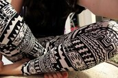 pants,leggings,aztec,pattern,black,white,black and white