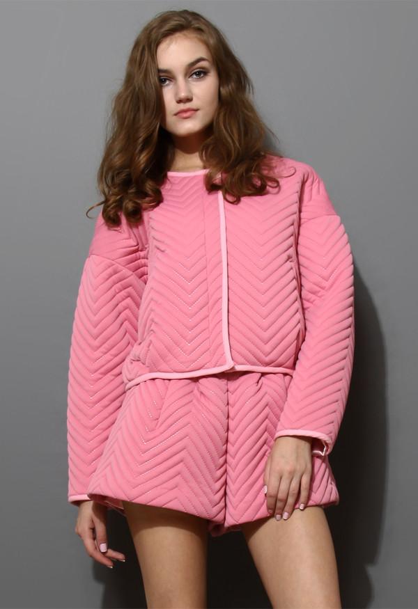 dress zig zag quilted pink jacket short set