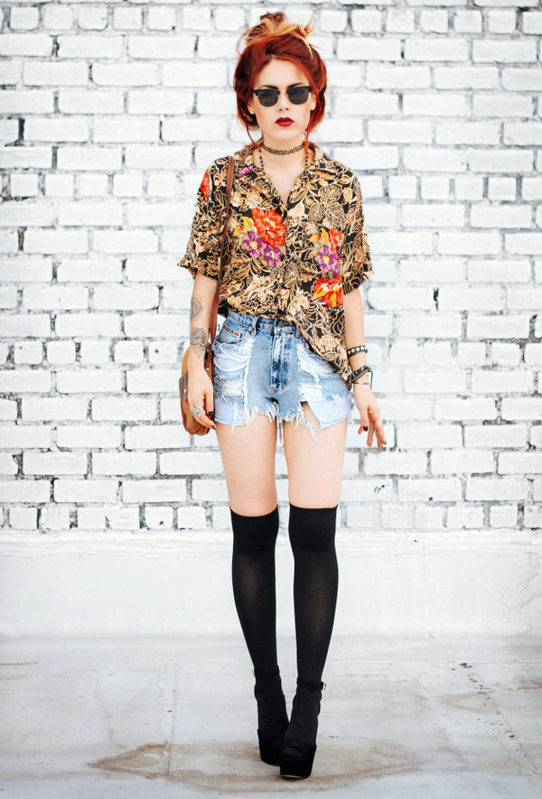 le happy blogger blouse shoes knee high socks tattoo grunge floral denim shorts socks knee high socks