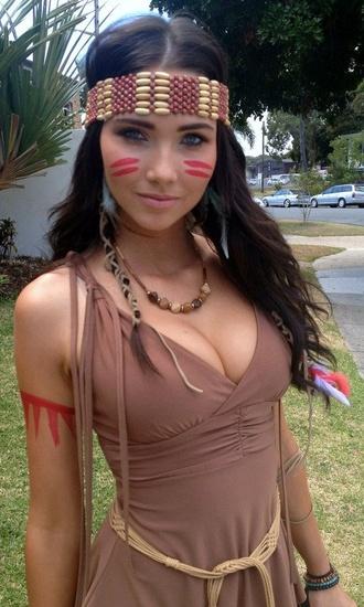 brown indian dress for halloween costumer ties at shoulders skater deess dress