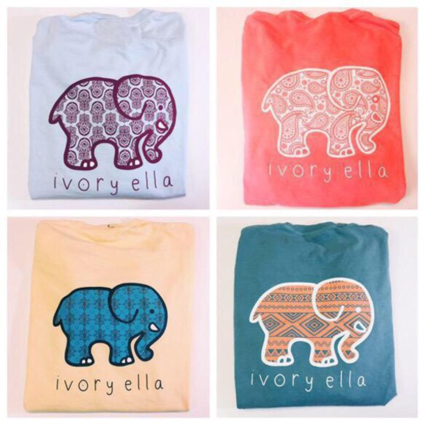 1bb202bde shirt ivoryella ivory ella elephant style casual t-shirt