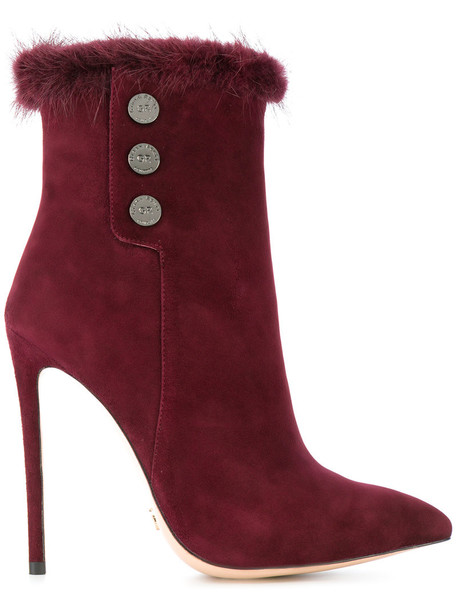 fur fox women ankle boots leather suede red shoes