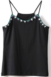 top,black top,embellished top,spaghetti strap,vintage,maykool