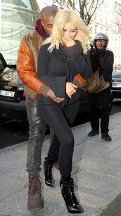 sweater,kim kardashian,kanye west,love,ankle boots,pants