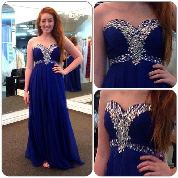 Cheap 2015 Evening Gowns - Discount 2015 Shimmering Blue Beaded Long Prom Dresses Sweetheart Sleeveless a Line Floor Length Chiffon Evening Formal Gowns Online with $99.8/Piece | DHgate