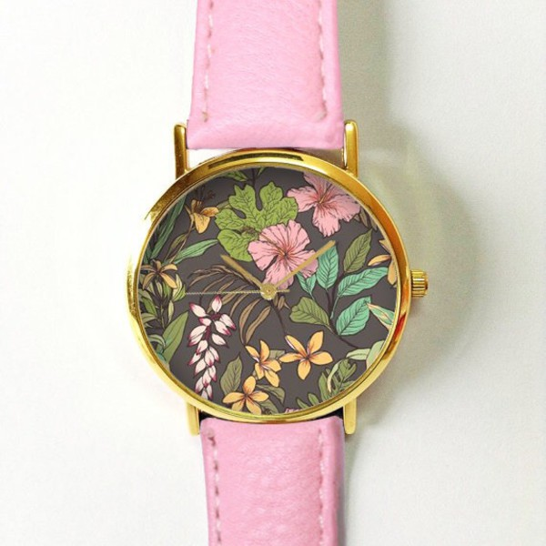 jewels https://www.etsy.com/listing/247505627/pink-hibiscus-tropical-floral-watch?ref=shop_home_active_17