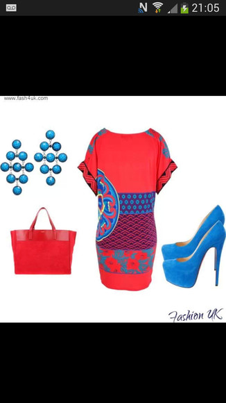 blue shoes dress red dress earrings red bag