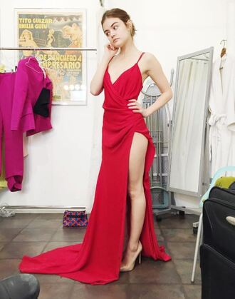 dress gown red dress sexy dress slit dress pumps lucy hale