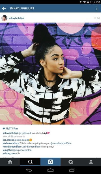 shirt hoodie crop tops crop tops black white cute girly