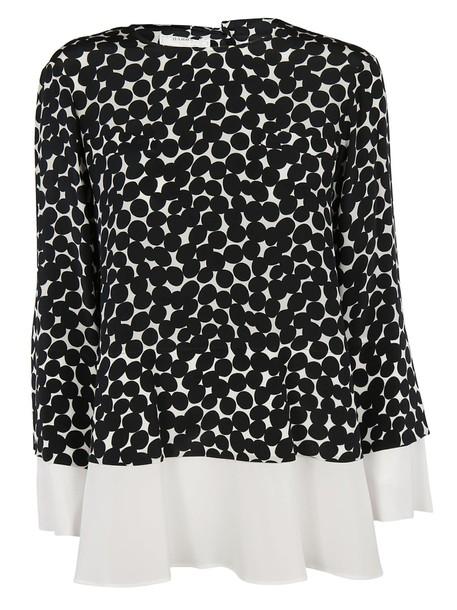Barba blouse print white black top