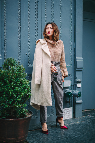 coat tumblr nude coat sweater knit knitwear knitted sweater turtleneck turtleneck sweater pants grey pants shoes