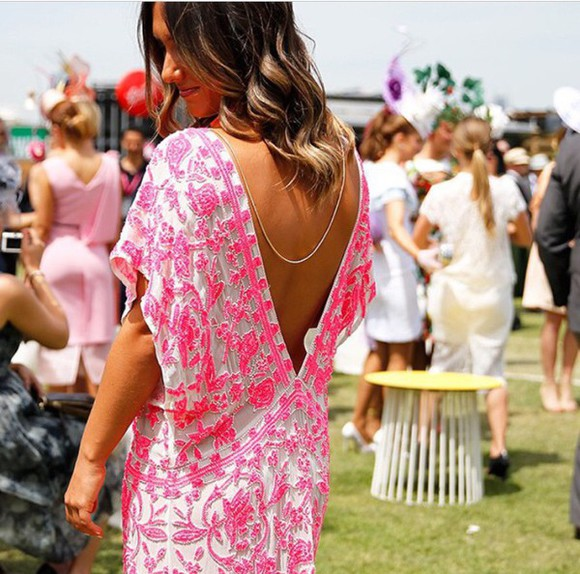 backless hot hot pink oaks day blogger blogger race dress