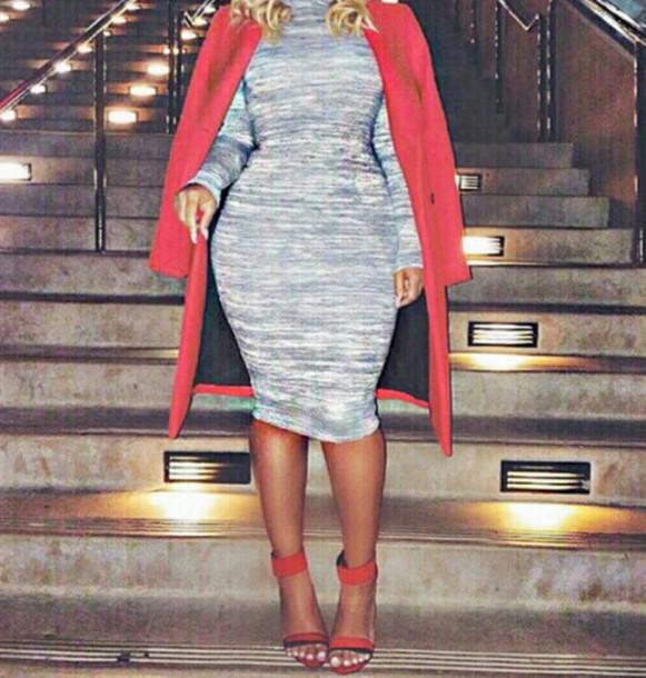 dress coat red grey heels sexy cute summer outfits summer dress