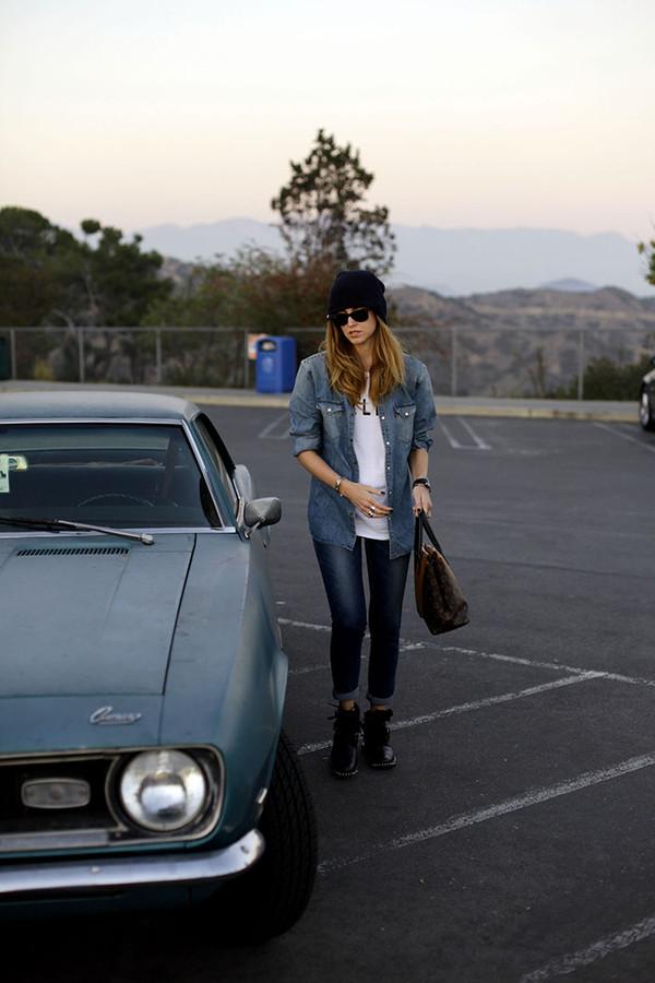 the blonde salad shirt t-shirt jeans shoes bag hat denim shirt handbag boots beanie