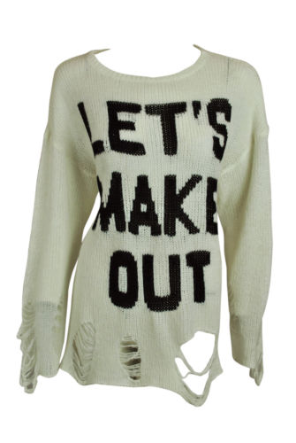WILDFOX White Label Womens Ivory Lets Make Out Frayed Hole Sweater XS $225 New | eBay