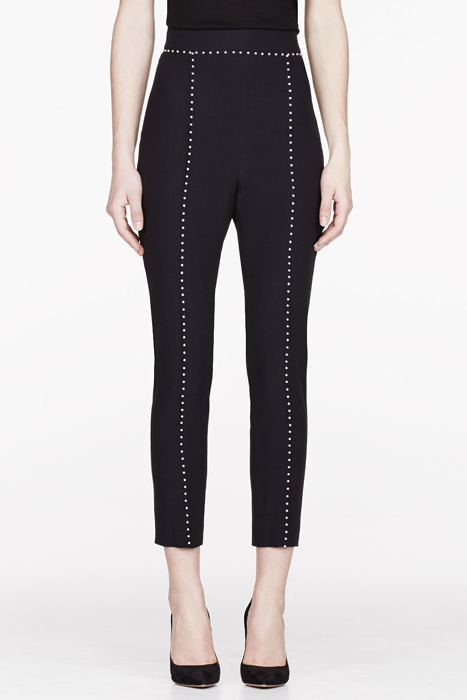 Alexander mcqueen black crepe and pearl leaf trousers