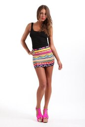 skirt,mini skirt,short skirt,tank top,heels,pink heels,printed skirt,print,sexy skirt,sexy,tribal print skirt,tribal pattern,high waisted skirt,rainbow