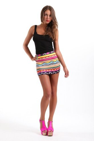 skirt mini skirt short skirt tank top heels pink heels printed skirt print sexy skirt sexy tribal print skirt tribal pattern high waisted skirt rainbow
