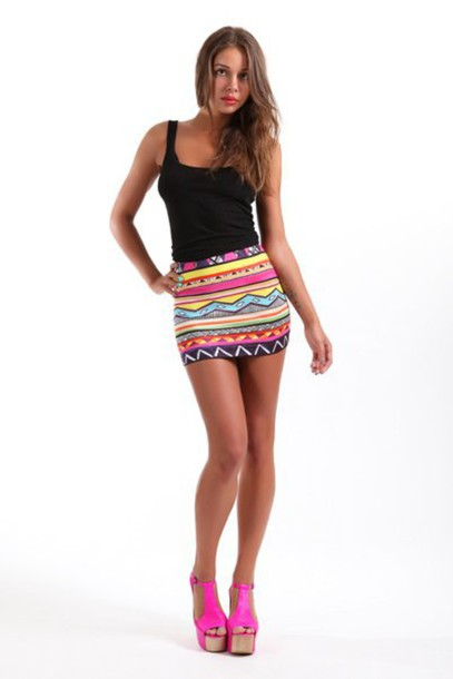 skirt, mini skirt, short skirt, tank top, heels, pink