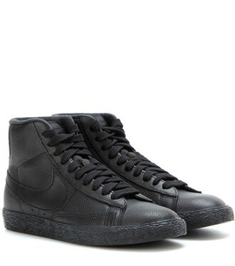sneakers leather black shoes