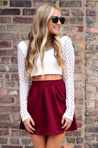 shirt white white lace crop tops croptop cropped lace skirt sweater jewels sunglasses blouse red short skater skirt top pintrest maroon burgendy red skirt white sweater white top long sleeves
