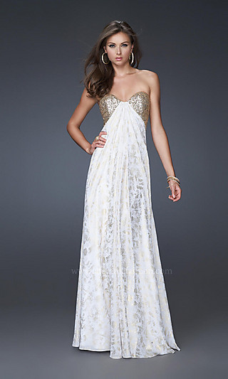Strapless white and gold la femme dress for prom