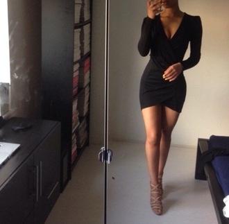 dress black tight v neck long sleeves chic wrap dress black wrap dress