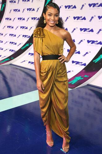 dress belt mtv vma gown prom dress maxi dress yara shahidi mustard