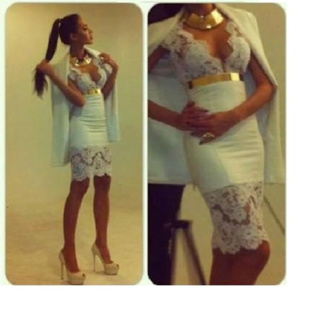dress gold belt sexy lace dress
