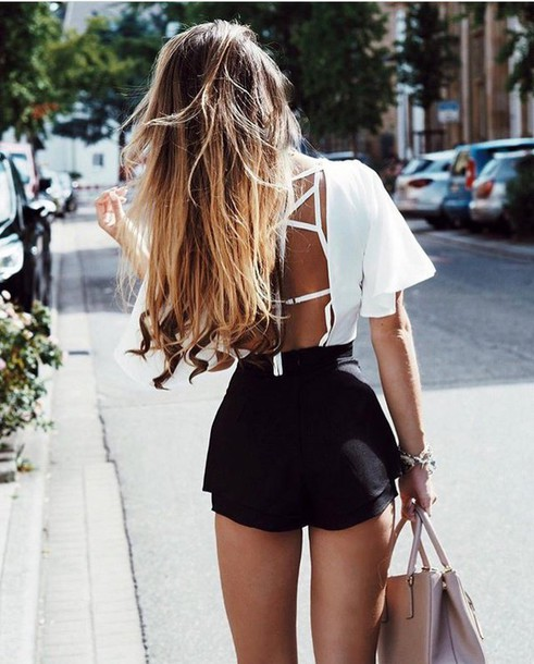 shirt white top backless top