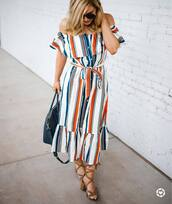 dress,tumblr,off the shoulder,off the shoulder dress,midi dress,stripes,striped dress,sandals,sandal heels,mid heel sandals,summer dress,summer outfits,shoes