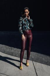 caradisclothed,blogger,blouse,shoes,leggings,leather leggings,fall outfits,mules