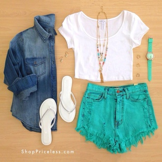 shorts jacket t-shirt jewels blue shorts high waisted shorts shirt crop tops teal turquoise ripped stressed hot pants high waisted top white short sleeve