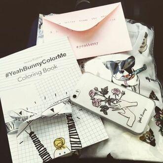 t-shirt yeah bunny dog frenchie pugs white cute comfy white tee kawaii