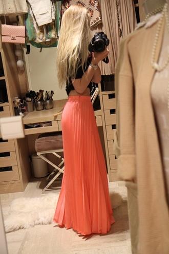 skirt coral clothes maxi skirt orange skirt coral skirt