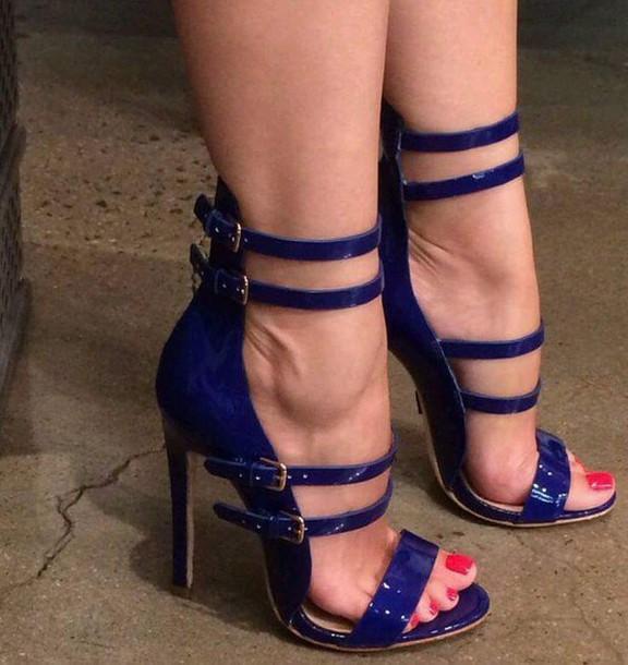 shoes sandal heels high heels blue heels blue high heels