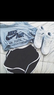 shoes,nike,nike air force 1,grey t-shirt,sportswear,top,nike air force,crop tops,shorts,sports shorts,etsy,t-shirt,shirt,sneakers,nike shirts,blue,grey,grey crop top,nike t-shirt,crop-top,grey top,cropped t-shirt