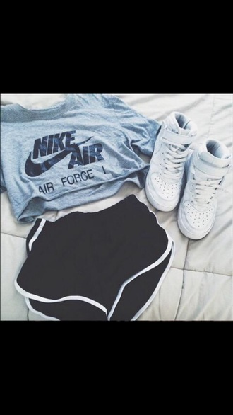 shoes nike nike air force 1 grey t-shirt sportswear top nike air force crop tops shorts sports shorts etsy t-shirt shirt sneakers nike shirts blue grey grey crop top nike t-shirt crop-top grey top cropped t-shirt