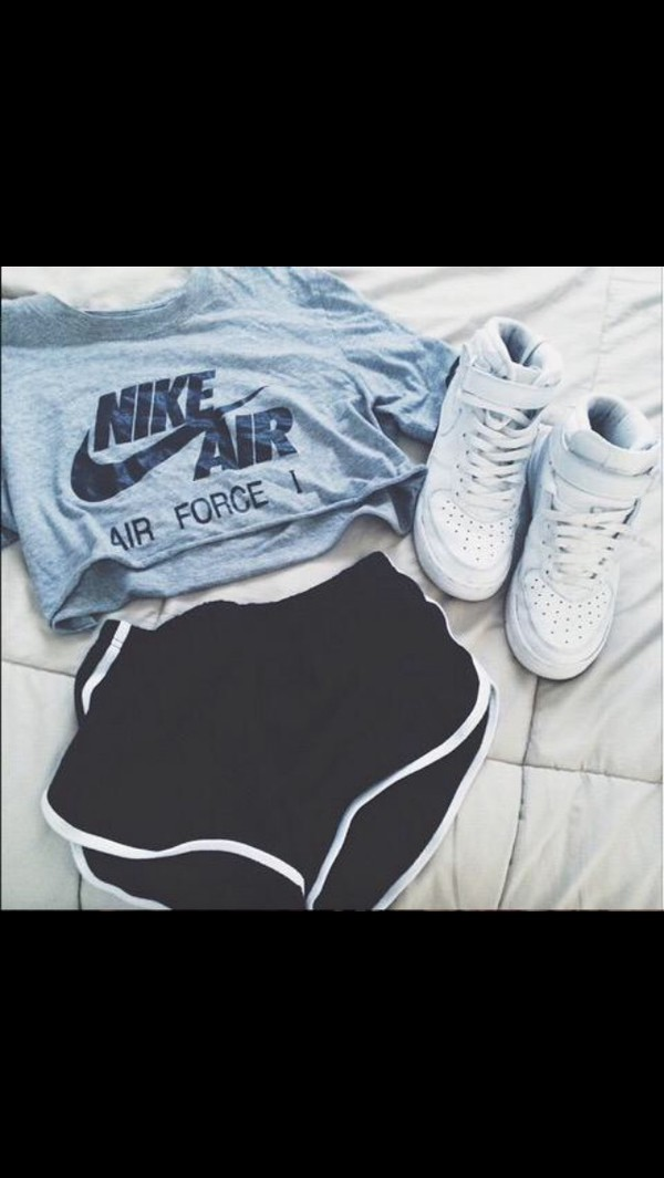 shoes nike nike air force 1 grey t-shirt sportswear top nike air force nike air force crop tops shorts sports shorts etsy shirt t-shirt sneakers nike air cropped nike shirts white nike high tops baddies outfit crop tops grey top nike sportswear blue grey nike shoes black shorts nike running shoes nike cropped top grey crop top nike t-shirt black white n black superstar tumblr cute style girl crop-top cropped t-shirt