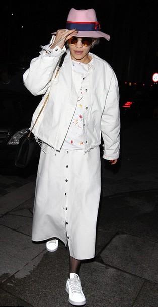 rita ora white jacket skirt