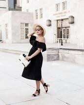 dress,hat,tumblr,black dress,midi dress,black midi dress,off the shoulder,off the shoulder dress,sandals,mid heel sandals,sun hat,bag,sunglasses