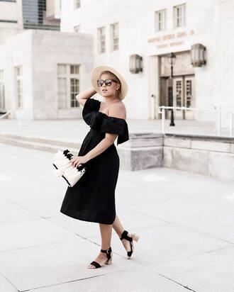 dress hat tumblr black dress midi dress black midi dress off the shoulder off the shoulder dress sandals mid heel sandals sun hat bag sunglasses