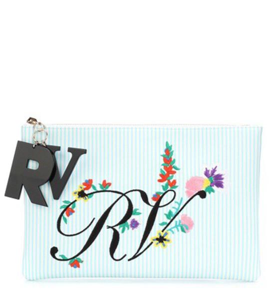 Roger Vivier embroidered clutch blue bag