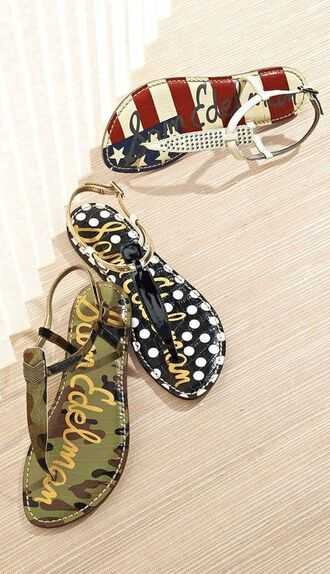 shoes polka dots army military style american flag sandals