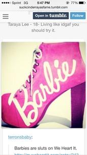 shoes,high heels,platform high heels,chunky heels,barbie,pink
