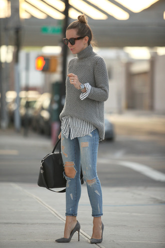 brooklyn blonde blogger shoes bag grey sweater striped shirt ripped jeans stilettos top