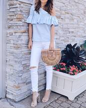 top,ruffled top,tumblr,blue top,ruffle,bag,handbag,denim,jeans,white jeans,ripped jeans,sandals,sandal heels