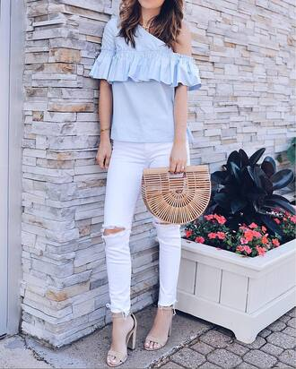top ruffled top tumblr blue top ruffle bag handbag denim jeans white jeans ripped jeans sandals sandal heels