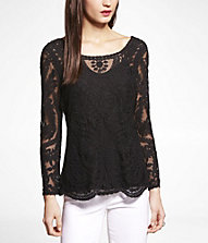 EMBROIDERED LACE TEE | Express